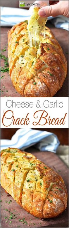 and Garlic Crack Bread (Pull Apart Bread) Cheese and Garlic Crack Bread - It's the BEST garlic bread you'll ever have!Cheese and Garlic Crack Bread - It's the BEST garlic bread you'll ever have! I Love Food, Good Food, Yummy Food, Tasty, Crack Bread, Cheesy Garlic Bread, Garlic Cheese, Appetizer Recipes, Party Recipes