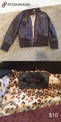 Little girl jacket Black jacket with cheetah print inside. Not real leather. weather report Jackets & Coats