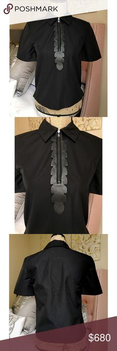 FENDI Black Leather Embroidered Zip Up Collar Top MORE DETAILS COMING! NWOT, IT Size 40 or US Size Small Fendi Tops