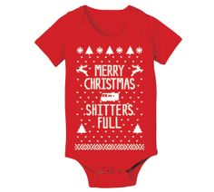 Nb 6m 12m 18m Merry Christmas Sh*tters Full - funny filthy animal ugly sweater mature outfit Infant creeper gift - Baby Red ONE-PIECE DT0295 on Etsy, $15.90