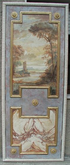 Decorative painted panel, trying to imagine closet doors painted with mouldings. Good way to camouflage fingerprint marks door moulding detail Closet Doors Painted, Painted Doors, Casa Versace, Decorative Panels, Decorative Mouldings, Grisaille, Faux Painting, Hand Painted Furniture, Painting Techniques
