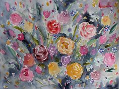 New worlds tend to open up and unfold as we go along. It's important to have a plan and have goals, but sometimes plans change and we need to go on a detour. Those detours are what makes the journey so exciting! Sometimes we just have to trust and go along with it all. This painting definitely reminded me of that. I completely went along with what I saw in front of me...relying on my brush and hand to lead the way!  Multicolored roses in watercolor medium.