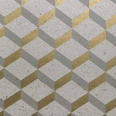Revêtement mural Printed Cork 3D Square - Nobilis - Doré et beige