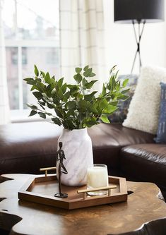 Jonathan Van Ness Got a Bigger NYC Apartment for His Cats: gallery image 4 Table Centerpieces For Home, Table Decorations, Home Living Room, Living Room Decor, Coffe Table, Breakfast In Bed, Decorating Coffee Tables, Tray Decor, Vase