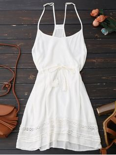 Spaghetti Straps Drawstring Waist Summer Dress - WHITE M