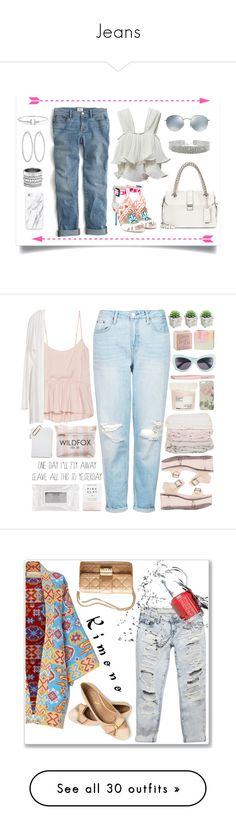 """""""Jeans"""" by candiseotsuka ❤ liked on Polyvore featuring J.Crew, Sophia Webster, Miu Miu, Ray-Ban, Henri Bendel, Talula, Herbivore, Y.R.U., Wildfox and Topshop"""