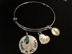 Forever in My Heart DAD Adjustable Stainless Steel Bangle Bracelet with Birthstone & Initial Charm by JudisEtsyTreasures on Etsy