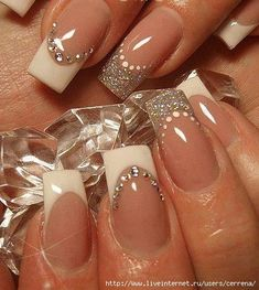 35 Splendid French Manicure Designs: Classic Nail Art Jazzed Up French Nails Blue Nails, Glitter Nails, Silver Glitter, Silver Ring, Glitter Art, Silver Nail, Sparkly Nails, White Nails, White Tip Acrylic Nails