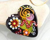 Handmade lampwork bead focal -- Heart -- N i g h t   F l i g h t  -- SRA -- art glass -- Silke Buechler
