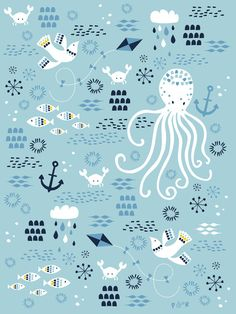 Children's Spaces | Patterns for Babies | Art Print | Illustration | Poster | Decoração Infantil | Padronagem para Bebês | Ilustração para Impressão #sea #ahoy #anchor #fish #ocean #captain #pirate #shark