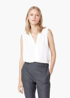 Fließende bluse mit knöpfen - Officewear für Damen | MANGO
