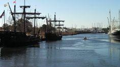 Two of Columbus' ships -- the Nina and the Pinta -- dock in Bayou La Batre