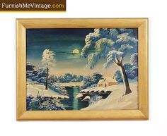 O.G. Lewis oil landscape..really breathtaking and has a beautiful frame so it's ready to hang!  #furnishmevintage #art #midcenturymodern