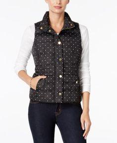 Charter Club Dot-Print Puffer Vest, Only at Macy's | macys.com