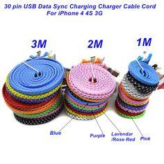 1 메터/2 메터/3 메터 높은 품질 꼰 플랫 30 핀 USB 데이터 동기화 충전기 케이블 코드 아이폰 4 4 초 3 그램
