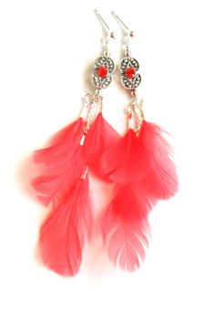 Coral Earrings Feathers Sterling Silver swarovski by Daniblu, $25.00