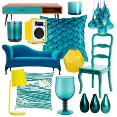 Turn your back on the gloomy weather and choose vibrant turquoise pieces then add pops of zingy yellow for contrast