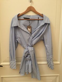 0852faba 70.00 | ZARA LIGHT BLUE ASYMMETRIC WRAP SHIRT BLOUSE TOP WITH PEARLY PEARL  CUFFS SIZE