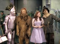Jack Haley, Bert Lahr, Judy Garland, Ray Bolger in The Wizard of Oz