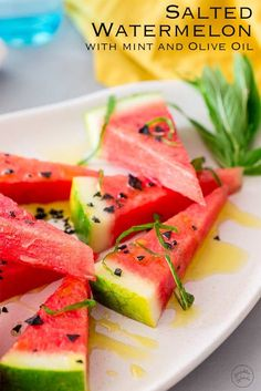 Sweet, salty and so refreshing. This salted watermelon salad will blow you away! If you haven't tried salted watermelon yet you are in for a treat. Watermelon Recipes, Fruit Recipes, Summer Recipes, Watermelon Salad, Great Appetizers, Easy Appetizer Recipes, Healthy Vegetable Recipes, Vegetarian Recipes, Delicious Desserts