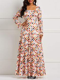 f8b10003717b Ericdress Long Sleeves Plaid Color Block Women's Dress. Joy Allen · A Diva's  Lookbook