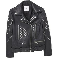 Studded Leather Biker Jacket ($185) ❤ liked on Polyvore featuring outerwear, jackets, moto jacket, studded jacket, long sleeve jacket, rider jacket and biker jackets