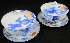 Vintage Asian Porcelain Covered Tea Cups Saucers Pair Floral Blue White Lid   eBay
