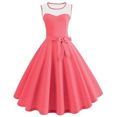 b6736a8beac AmazonSmile  vmree Women Vintage 1950 s Audrey Hepburn Style Dress Pure  Color Waisted Rockabilly Swing Sundress