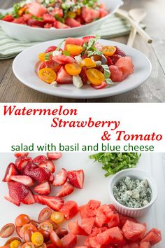 Looking for something new to bring to your next summer BBQ? Try this refreshing Watermelon Strawberry and Tomato Salad, with Basil and Blue Cheese. It's a showstopper, and so EASY! #Paleo #GrainFree #GlutenFree #summersalad #watermelonrecipe #watermelonsalad #bbq