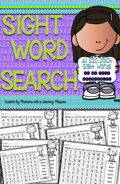 36 No Prep Printables for the Dolch List  (220 Sight Words) Word Search Puzzles  This is another way for your kiddos to practice recognizing their sight words. This set includes 36 no prep printables