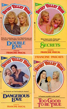 Sweet Valley High. Me and a friend of mine were just talking about how we had like 40 something of these books! hahahaha I used to LOVE Sweet Valley High when I was young! Hilarious!