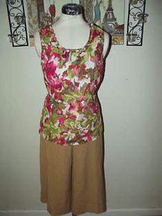 WOMENS CLOTHING LOT size 10 Medium ~ Camel Capri Pants, Floral Top ~ Cato