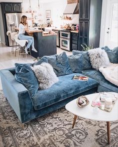 Jess Ann Kirby decorated her living room with the Hugo sectional in vintage sols., Jess Ann Kirby decorated her living room with the Hugo sectional in vintage sols. Living Room Interior, Home Living Room, Apartment Living, Living Room Designs, Living Room Decor, Kitchen Open To Living Room, Room Kitchen, Kitchen Modern, Orange Living Room Furniture