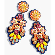 Women's J.crew Embroidered Crystal Earrings (700 SEK) ❤ liked on Polyvore featuring jewelry, earrings, orange multi, earrings jewellery, embroidery jewelry, j crew jewelry, crystal jewelry and j crew earrings