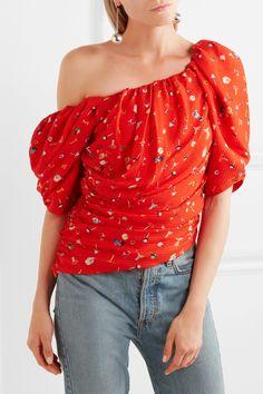 Preen by Thornton Bregazzi - Maja One-shoulder Printed Silk-jacquard Top - Tomato red - x small