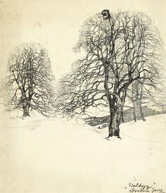 TREES IN ART • L'ARBRE DANS L'ART   Josef Stoitzner (Austrian, 1884-1951), Waldegg in...