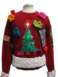 Ugly Christmas Sweater: -L. Bean- Unisex red background cotton longsleeve pullover homemade ugly Christmas sweater, round neckline with a Christmas tree, a green patch with Ho Ho Ho on it, and colorful fluffy objects. On the back are the words Ugly Swea Ugly Christmas Sweater Images, Homemade Ugly Christmas Sweater, Ugly Xmas Sweater, Christmas Jumpers, Christmas Sweaters, Christmas Tree, Christmas Crafts, Christmas Ideas, Winter Jumpers