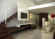 use the space under the stairs and the stairs wall