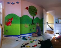 Baby Boy Room - Forest Mural Baby Boy Rooms, Kids Rooms, Forest Mural, Little Babies, Dinosaur Stuffed Animal, Nursery, Animals, Decorating Rooms, Animales