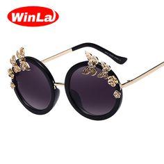 4f468c5f663 Winla Sunglasses New Fashion Women Sun glasses Round Glasses  Anti-Reflective Mirror Butterfly Decoration Eyewears Oculos