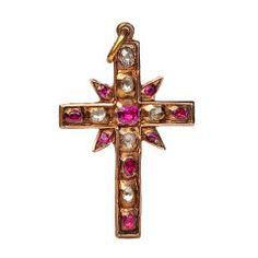 Renaissance Ruby Diamond Cross Pendant c1580