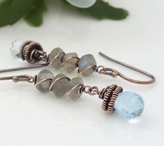 Sky blue topaz earrings with labradorite, Wire wrapped Copper earrings, copper jewelry, labradorite jewelry, gray and blue earrings on Etsy, $55.00
