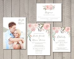 Blush Floral Wedding Invitation, Response, Details Card (Printable) by Vintage Sweet by vintagesweetdesign on Etsy https://www.etsy.com/listing/263997607/blush-floral-wedding-invitation-response