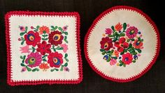 Hungarian Embroidered  Kalocsa Doilies pair set by FaberGreaves