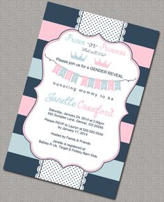 Gender reveal party, gender reveal invites, gender reveal invitation, gender reveal ideas, pink blue gray, printable or printed - WLP00785 by Willow Lane Prints