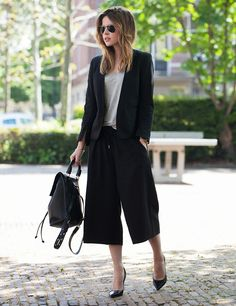 4 WAYS TO WEAR THE CULOTTES TREND. #fashnchips demonstrates how to wear them perfectly to the office.