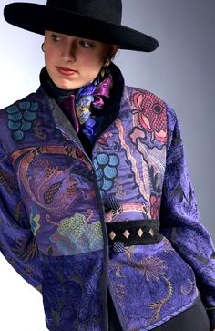 Mary Lynn O'Shea  Weybridge, VT  'Bristol Concord Jacket'  Handwoven jacquard fabric with buttons and trims