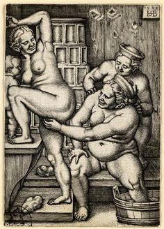 Drei Frauen in der Badestube