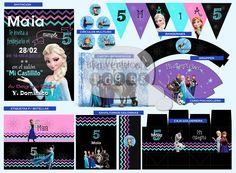 Cumpleaños 5 Maia, temàtica: Frozen. Diseño de Invitaciòn, etiquetas para…