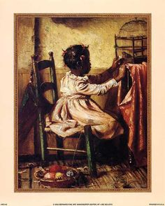 African American Art Posters | Little Girl Feeding Bird - Harry Roseland (3 sizes)
